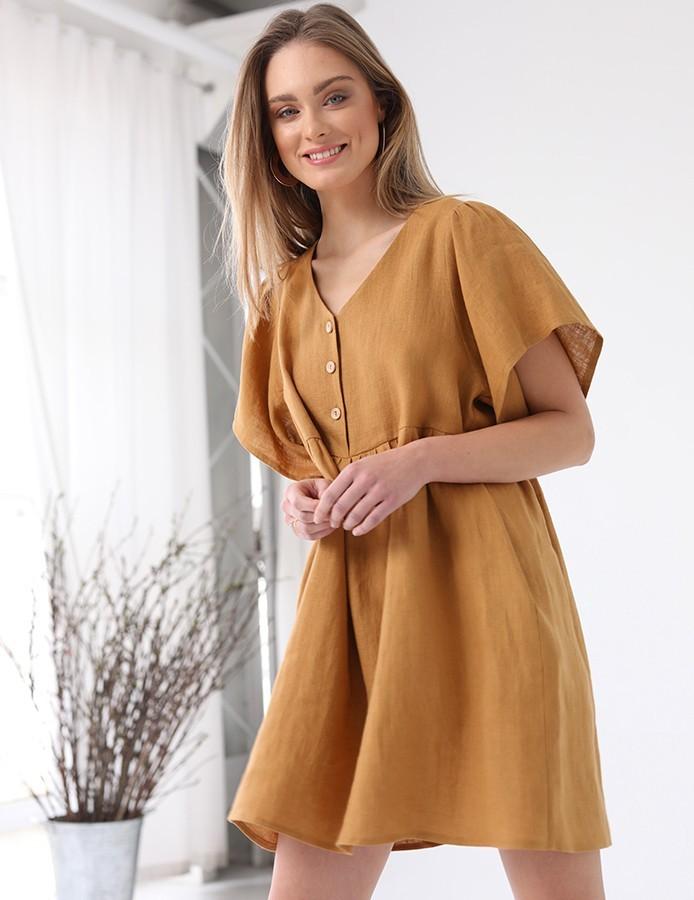 Lniana sukienka oversize karmelowa me